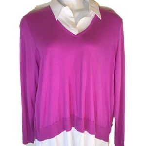 Lauren Ralph Lauren 1x  Pink V-Neck Sweater New